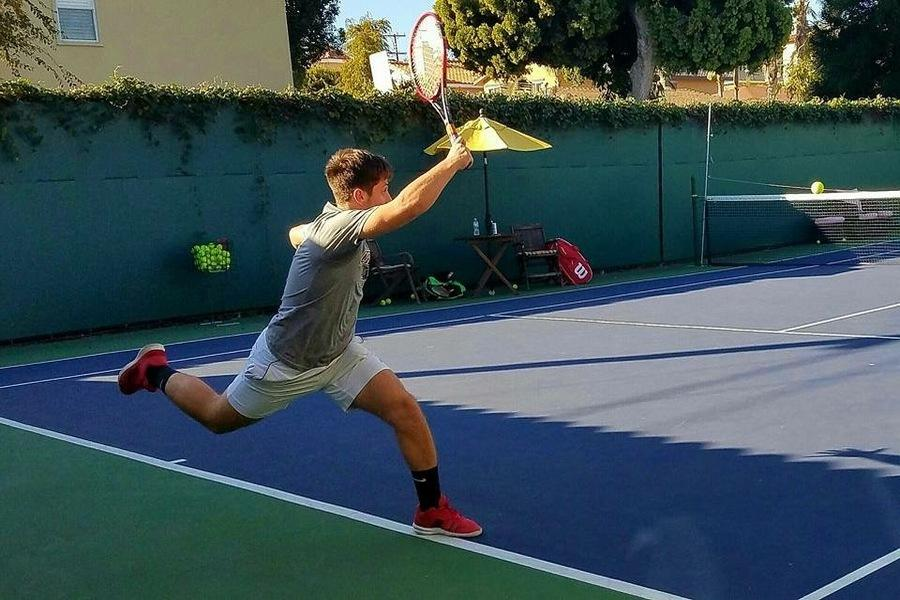 FOREHAND: Senior Nathan Benyowtiz, ranked in the top 80 for California 18 and under, is one of a few Shalhevet seniors being recruited to play college sports.