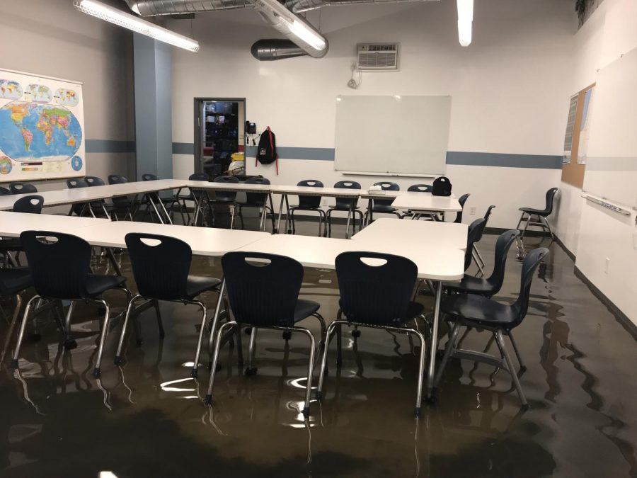 FLOOD: All basement classrooms under inches of water after city main breaks