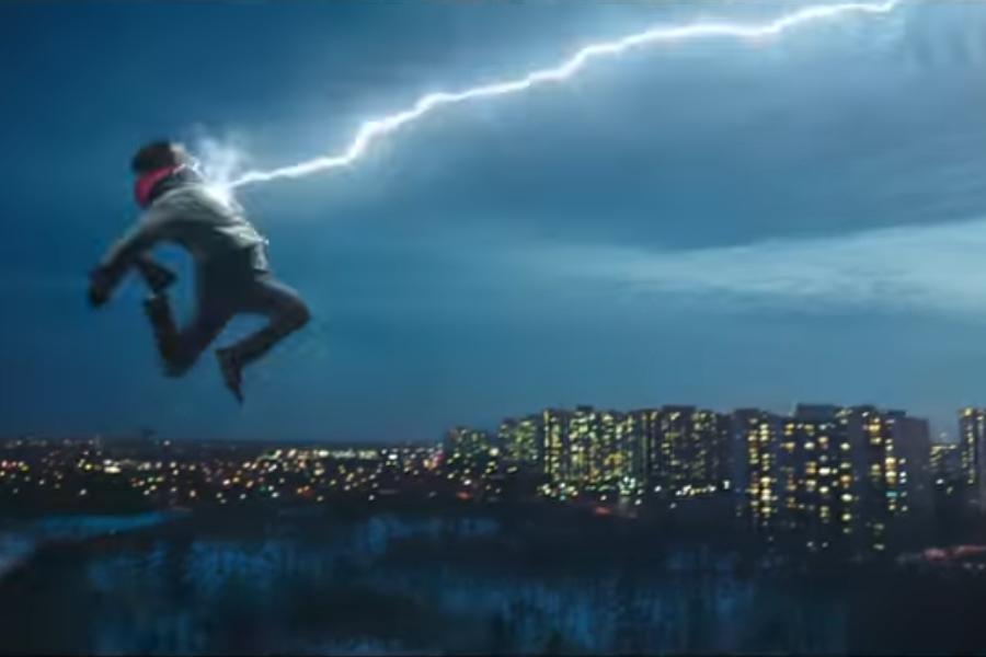 WOW: Freddy Freeman, played by Jack Dylan Glazer, is amazed by Billy Batson's transformation from boy to superhero.