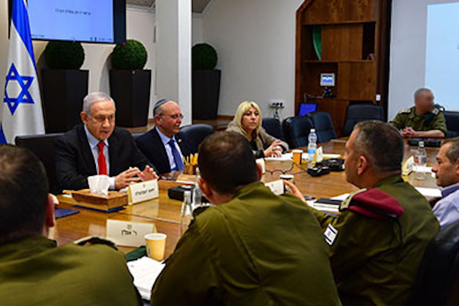 COALITION: Prime Minister Benjamin Netanyahu met with his security team March 26. Religious and defense-oriented parties  have held his government together in the past, and may again.