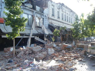 UPSCALE: The city of Talca, 65 miles from the earthquake's epicenter, suffered damage to even its well-built structures.