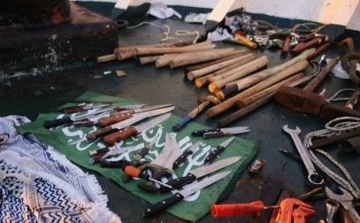 An assortment of weapons were found aboard the Mavi Marmara when Israeli soldiers boarded the vessel, Monday