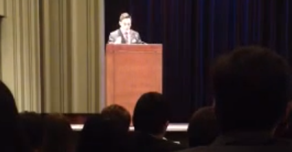 CHALLENGE: Agenda Chair Daniel Schwartz addressed more than 700 delegates to Penn Model Congress debate conference in Philadelphia Feb. 7. His speech helped him become the first observant Jew ever to win the post, after he became eligible by choosing a non-Jewish running mate from another school's delegation.