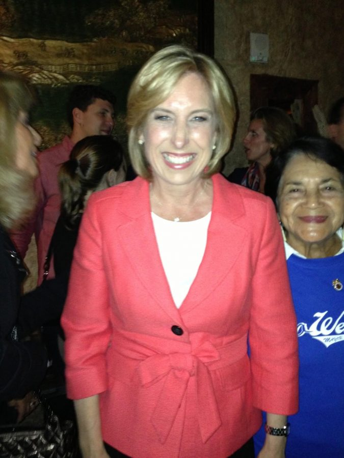 STILL SMILING: City Controller Wendy Greuel stayed optimistic - and friendly - as the vote tally turned toward Councilman Eric Garcetti on Election Night.  Her party was at The Exchange in downtown Los Angeles.