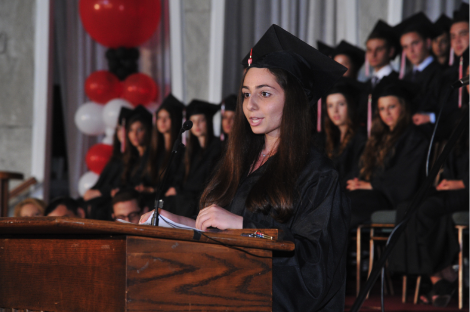 CAPABLE: Valedictorian Colleen Bazak noted that the class of 2013 had lived through many changes at Shalhevet and shown it could respond as complainers or as leaders.