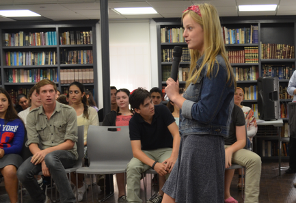 CAMPAIGN: Hannah-Leeba Ellenhorn addressed Town Hall Sept. 12 after showing a video promoting her candidacy.