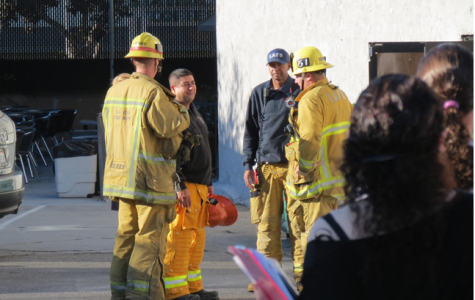 QUESTIONS: As students watched, members of the Los Angeles Fire Department conferred outside the Annex Thursday morning, Oct. 31.  No cause for the alarm had been found as of Thursday afternoon.
