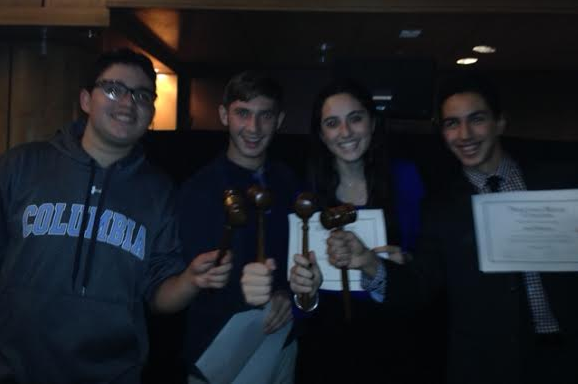 WINNERS: Jonah Gill, Boaz Willis, Sigal Spitzer and Daniel Soroudi celebrated this morning in Washington, D.C., after the Firehawk debate team learned of its awards this morning at the Princeton Model Congress competition.