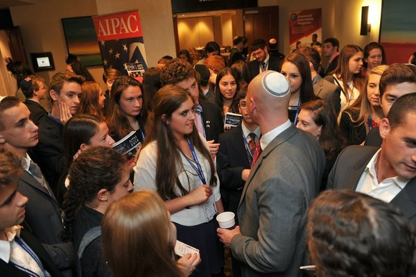 PASSION: Senior Maya Ben-Shushan questions a former IDF soldier at the AIPAC convention in Washington, D.C.