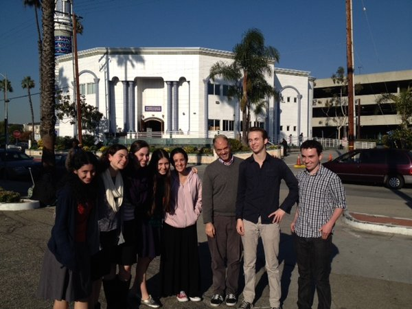 INTERFAITH: Juniors stand in the library of King Fahad Mosque in Culver City after spending the afternoon observing prayers and the imam's sermon Dec. 20.