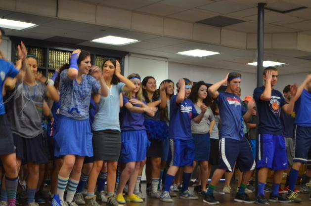 DANCE: The Blue Team shows off its moves during Color War's Opening Ceremonies.  Though the team lost for its song and Dvar Torah, it beat out red for its dance.