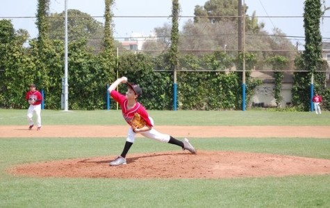 OUT! Freshman Ezra Hess has pitched against YULA in March.  The Firehawks finished the season with seven wins, six losses.