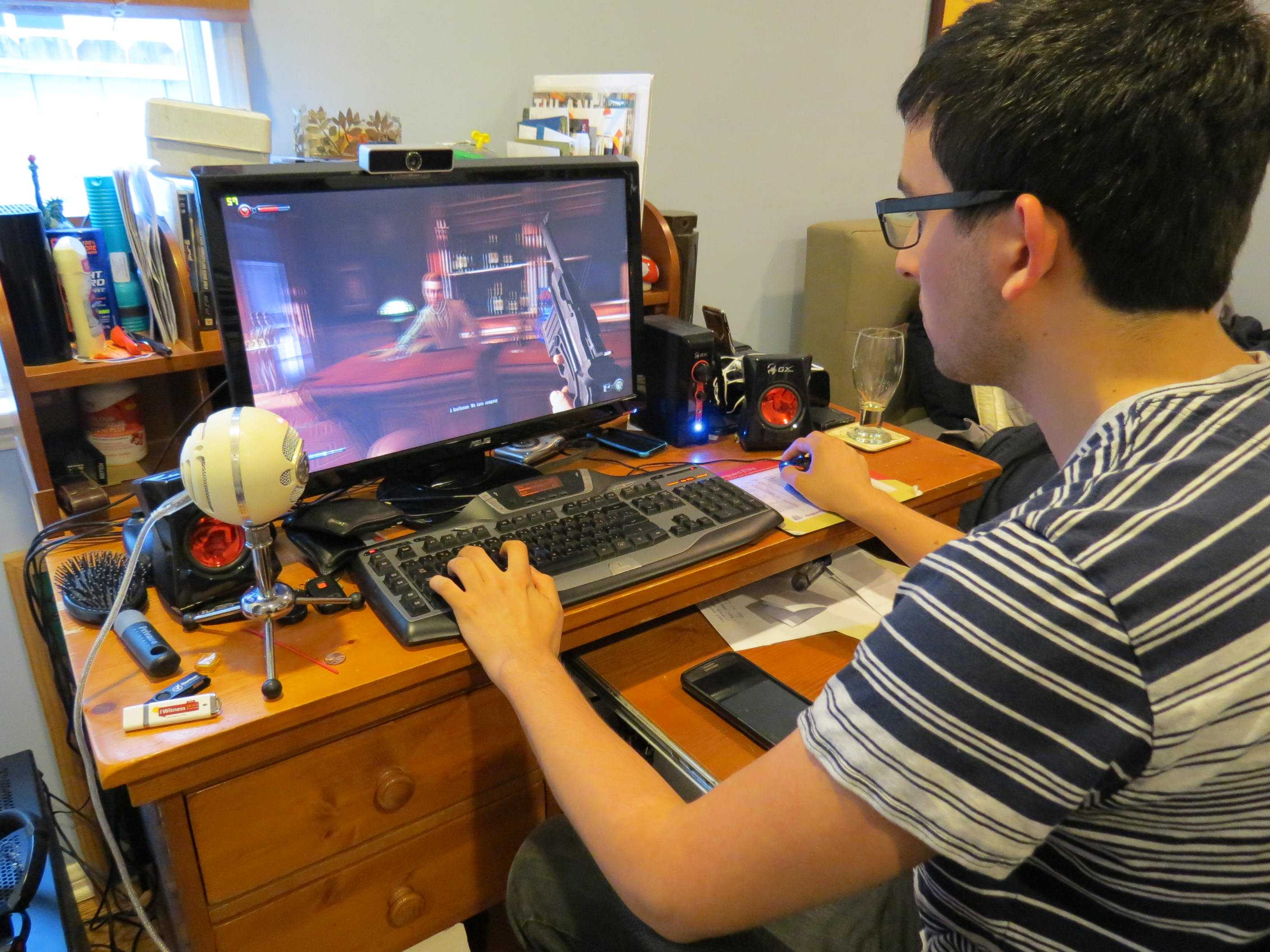 COMPUTER: Paul Merritt, playing says video games involve the viewer more than TV can.