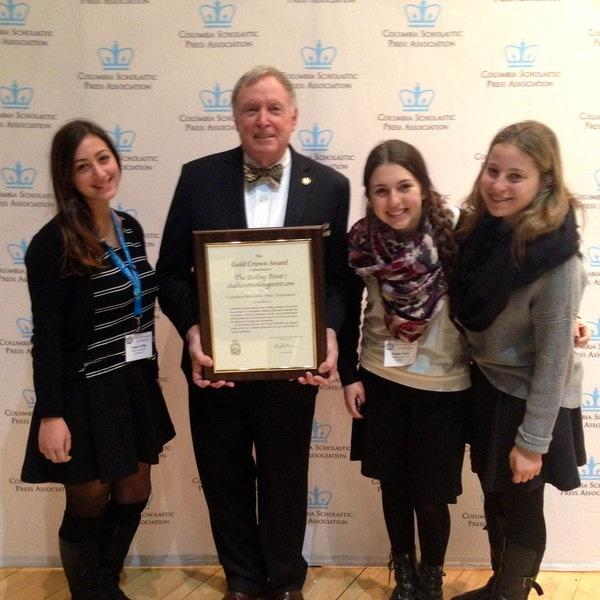 WINNERS: Tamar Willis, Nicole Feder and Goldie Fields accept the Gold Crown Award from CSPA's C. Bruce Watterson in New York City.