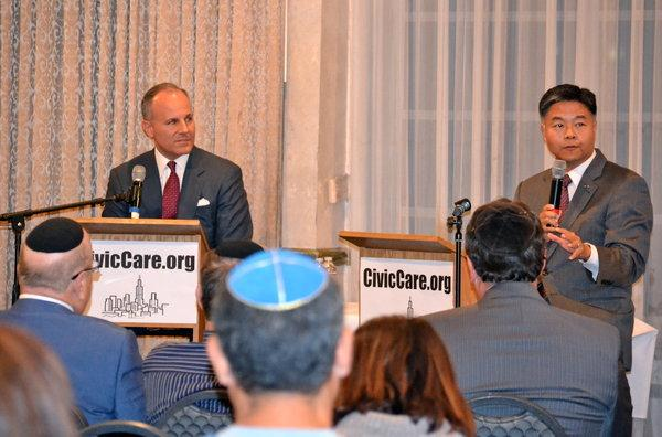 DEBATE: Elan Carr, left, debated Ted Lieu at Beth Jacob Oct. 28. Mr. Lieu is now congressman-elect.