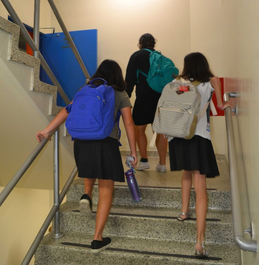 LUG%3A+Students+climb+stairs+to+class.+The+textbook+ban+hasn%E2%80%99t+lightened+loads+for+many.