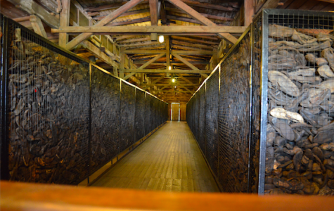 GOD'S ABSENCE: One barracks at Majdanek is filled with thousands of shoes taken from prisoners as they arrived.