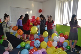 PRANK: One classroom was filled entirely with balloons