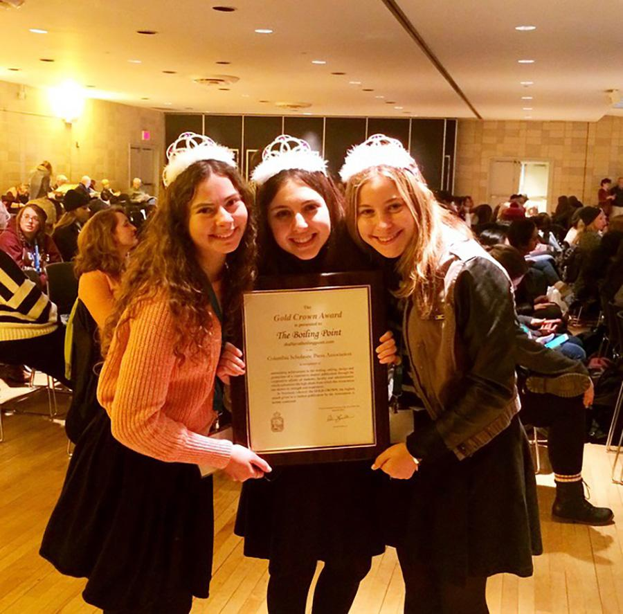 CROWNED: Seniors Goldie Fields, Nicole Feder and Margo Feuer collect the Gold Crown Award at CSPA conference in March 20 New York.