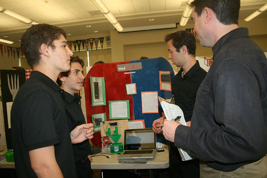 INVENT: Sophomores Zev Kent, Ezra Fax and Eytan Rosenman at the CIJE conference in Irvine May 20