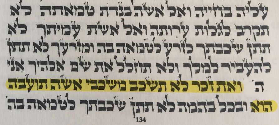 TRADITION: Leviticus 18:22, highlighted above, is the verse used by Rabbis to prohibit homosexual relations, but LGBT Jews have a different perspective on its meaning.