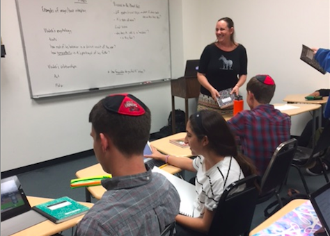 LEGACY: Ms. Berkey has taught literature and writing at Shalhevet for 17 years. On Tuesday, she enjoyed the last week of  her 10th Grade American Literature class.