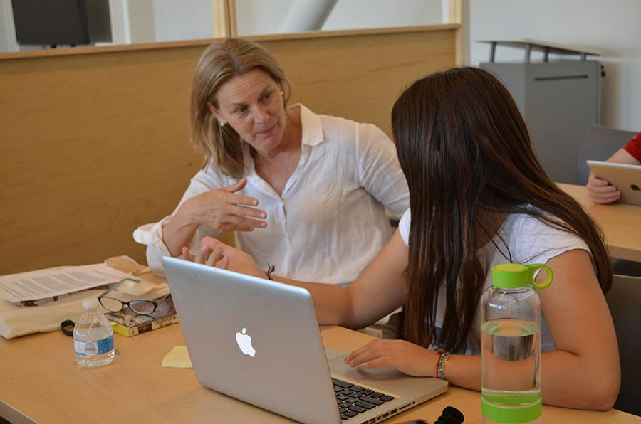 INSTRUCT: English teacher Ms. Devon O'Brien with senior Laly Chriki during the college essay workshop last month.  Ms. O'Brien has interviewed celebrities including Emma Thompson and Nicole Kidman for the Los Angeles Times.