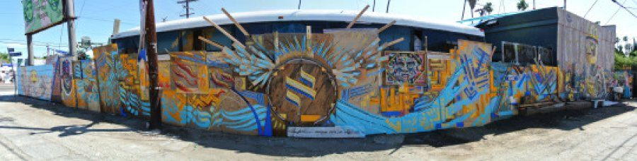 LAYERS%3A+Jewish-infused+mural+near+Venice+Beach+is+painted+on+a+multi-layered+construction+of+wood.