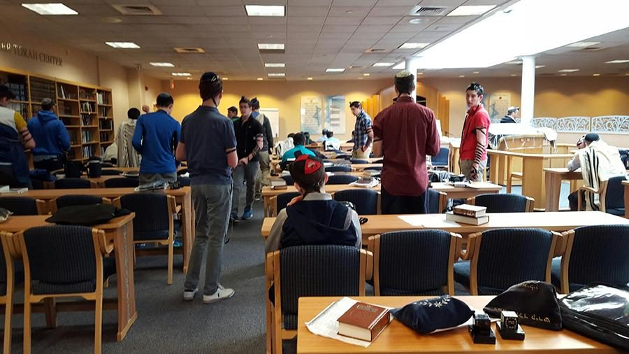 SIMILIARITIES%3A+Students+at+the+Rae+Kuskner+Yeshiva+High+School+in+New+Jersey+all+pray+together+in+one+minyan.+