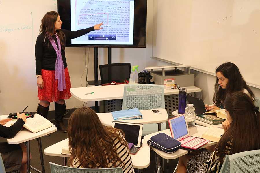 SCHOLAR: Mrs. Segal used the Lahav app to teach ninth-grade Gemara last week. She is one of only a few women teaching Gemara on the West Coast.