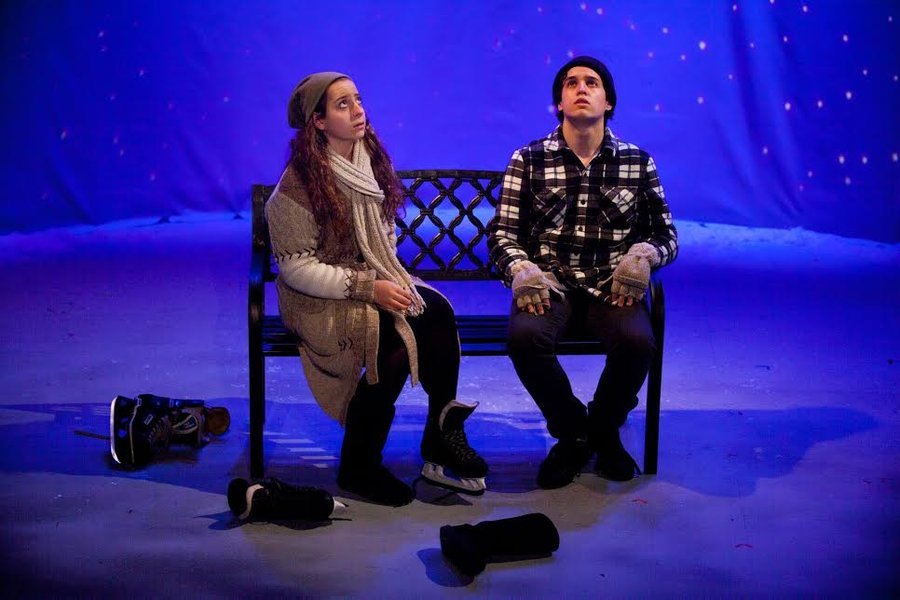 IN CHARACTER: Sophomore Donna Grunfeld and junior Noah Mermelstein look to the sky for answers to their marital problems in Almost, Maine.