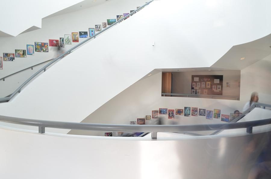 Similar to the Guggenheims staircase, Shalhevets staircase features white walls and circular stairways that overlooks a foyer below.