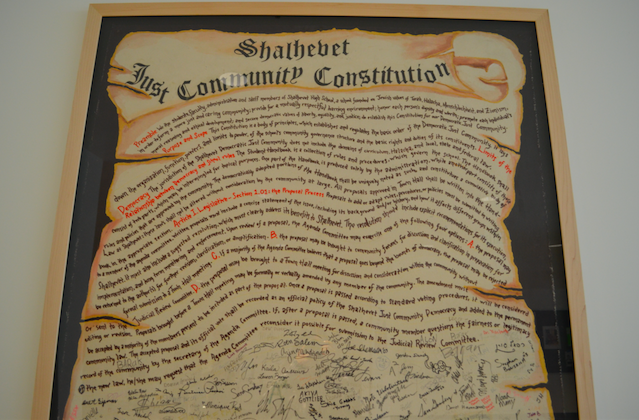 SIGNED: Shalhevet's original Just Community Constitution was signed by students, faculty and administrators in 2002.