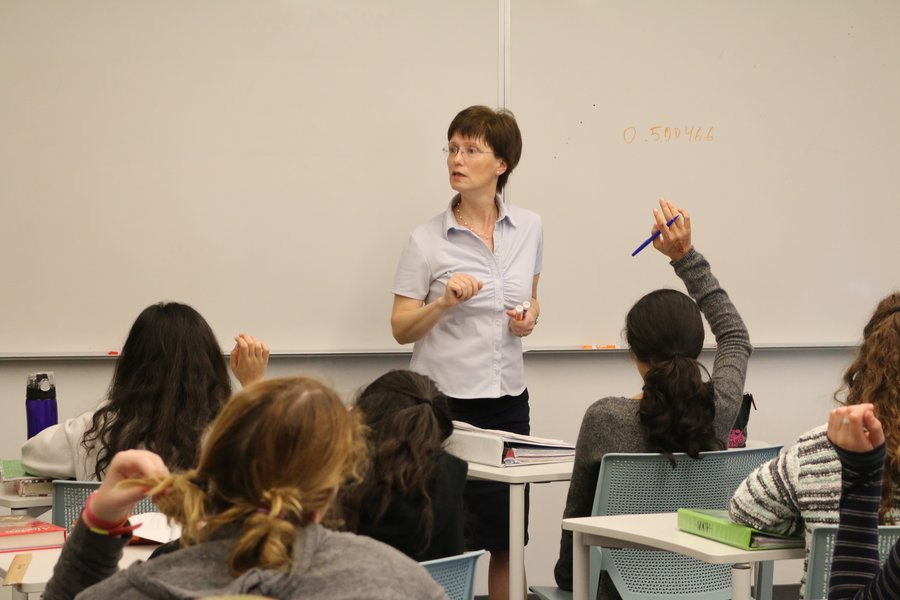 PRODIGY: Mrs. Malikov teaching a freshman Algebra class last month. She emigrated from Russia as a newlywed after earning degrees in mathematics at Moscow University.