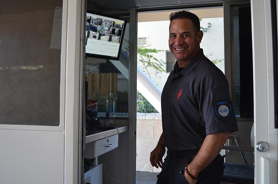 PROTECT%3A+Pete+Pietry+watches+at+gate.+He+is+one+of+four+new+security+guards+part+of+the+security+group.
