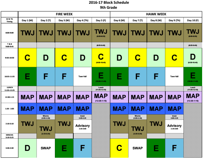 SCHEDULE%3A+Ninth-grade+master+schedule+shows+new+%22MAP%22+periods+after+lunch%2C+which+will+be+dedicated+to+math%2C+arts+and+P.E.+classes.