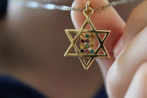 IDENTITY: Micha Thau's rainbow Magen David (star of David) necklace, which he wears everyday, represents two critical elements of his identity -- Judaism and homosexuality. Micha co-founded Shalhevet's first Gay-Straight Alliance earlier this year in the hopes of making any Shalhevet LGBT students feel comfortable and supported.
