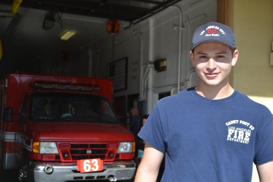 FIREMAN%3A+Senior+Sammy+Ellenhorn+stands+in+front+of+firehouse+63+in+Venice+where+he+worked+this+summer+training+to+become+a+cadet.+