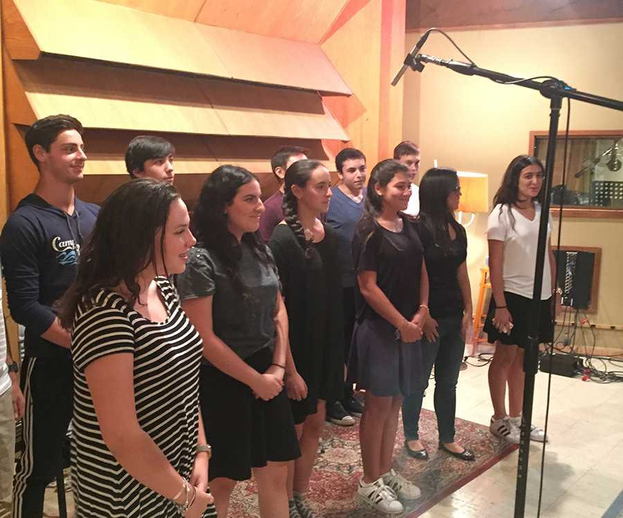 PROFESSIONAL: The Choirhawks recorded at the Boulevard Recording Studio Aug 17, standing in the shoes of Ringo Starr, Carly Simon and Pink Floyd.