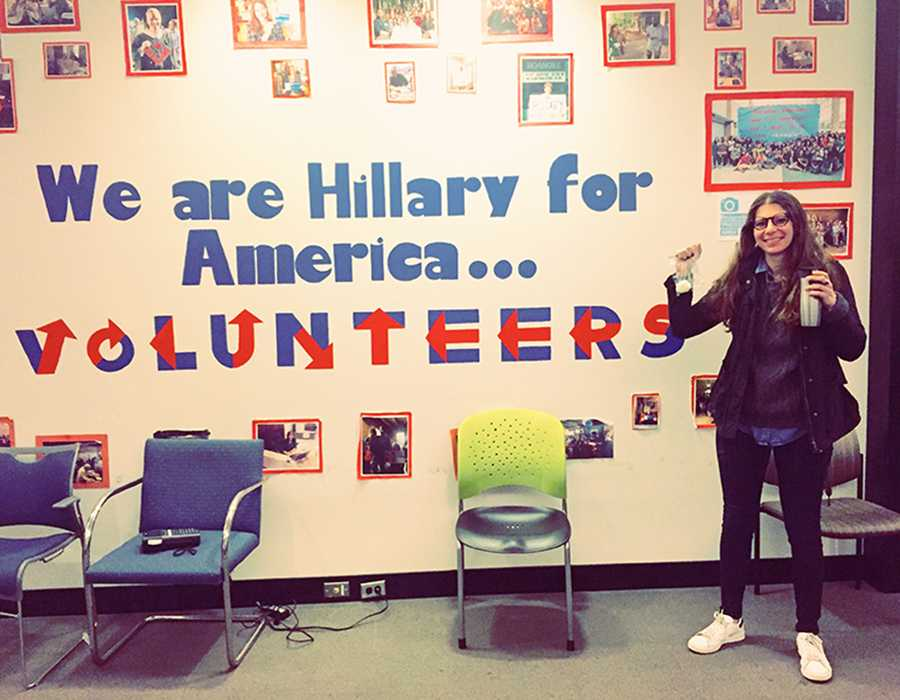 "HEADQUARTERS: Alumna Yael Rabin '10 posed at the entrance to Hillary Clinton's national headquarters in Brooklyn, N.Y.  ""Politicians -- they never sleep,"