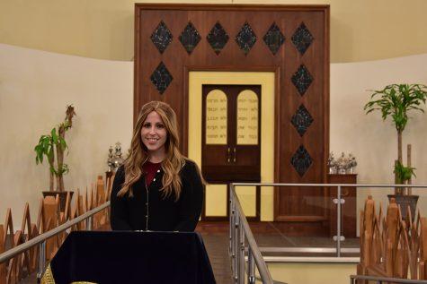 TITLED: As a spiritual leader of B'nai David-Judea Congregation, Rabbanit Alissa Thomas-Newborn regularly gives d'vrei Torah from the shul's bima.
