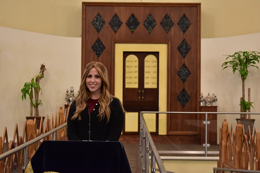 TITLED: As a spiritual leader of B'nai David-Judea Congregation, Rabbanit Alissa Thomas-Newborn regularly gives d'vrei Torah from the shul's bima.