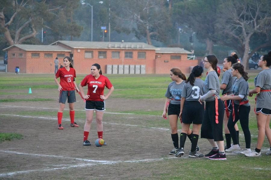 READY: Sophomore Bailey Mendelson and senior Michelle Greenberg prepare to face the Harkham Gaon flag football in one of the two games against them this year.