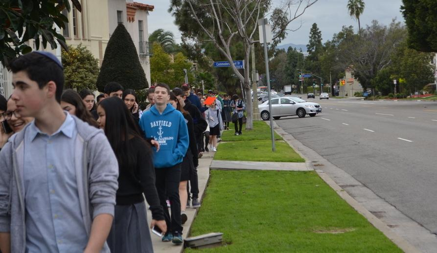 MARCH: Students from Milken, De Toledo and YULA Girls high schools joined Shalhevet for the 30-minute walk down Olympic Boulevard to school today, after a morning of prayer and community service projects in opposition to Westboro Baptist Church.
