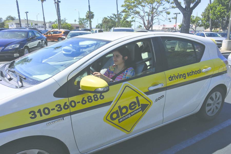 SIXTEEN: Eva Suissa practiced driving in Culver City last week.