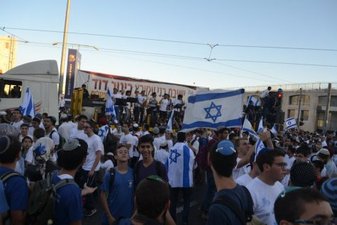 CELEBRATE: Shalhevet's senior class joined thousands of Jews gathered at the bottom of Rachov Yafo in front of City Hall in Jerusalem to celebrate Yom Yerushalayim on May 24 at the end of their Poland-Israel Experience.