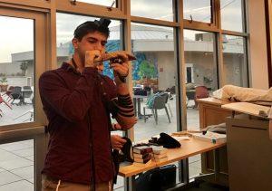 SHOFAR: Asher Dauer blew the shofar in the large Beit Midrash during Hashkama Minyan Sept. 19.