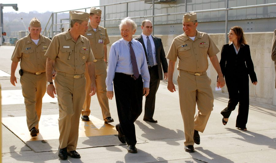 Senator Lieberman visits Navy base in Groton, Connecticut.
