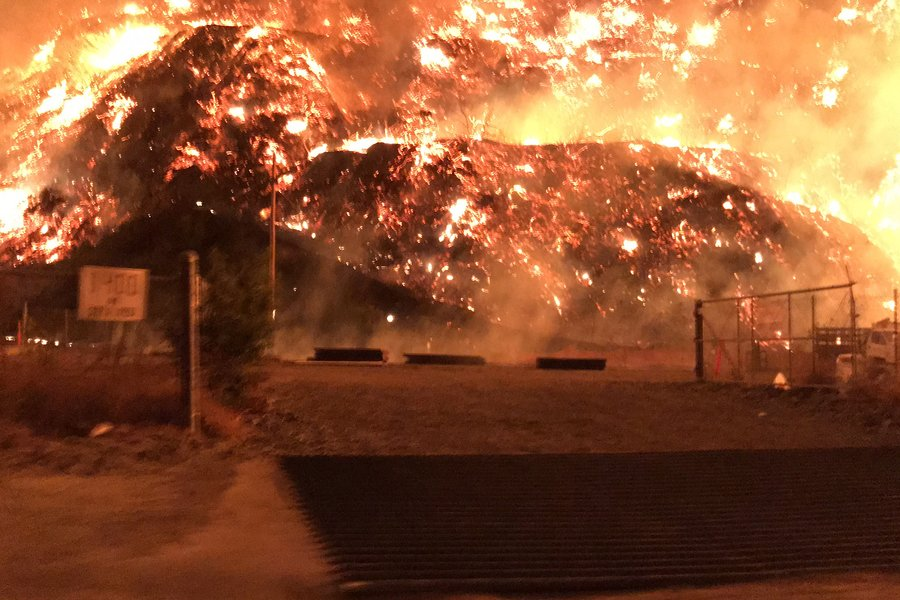 BLAZE: A lot next to Leo Baeck Temple was covered in flames Wednesday morning, Dec. 6.  The lot was being prepared for construction, according to Milken junior Ben Chasen.