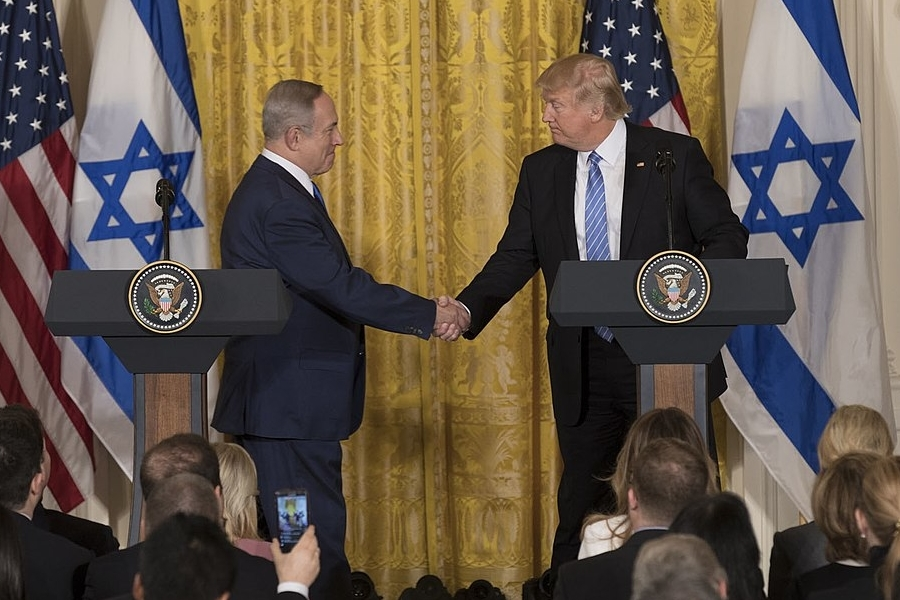 AGREE: President Trump and Israeli Prime Minister Benjamin Netanyahu shook hands at the White House on Feb. 15, 2017. Last month, President Trump announced he would move the U.S. embassy to Jerusalem from Tel Aviv.